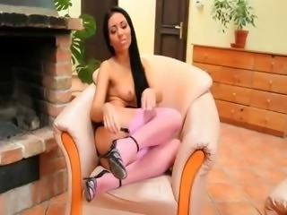 sweet super darkhair with pink socks