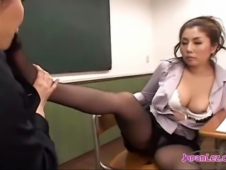 Asian lesbians masturbate and watch each other then suck toes.