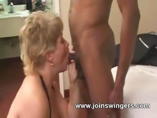 Aged swinger lovemaking group