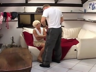 This blonde MILF gets her mouth filled with cum after this guy drilled her...