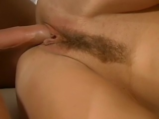 Horny hairy MILF gets drilled in all her bare holes and moans with every...