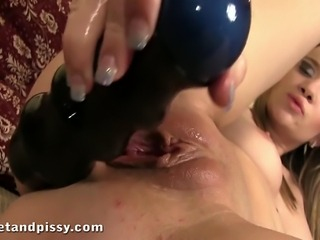 european model angel piaff participates in some peeing girl fun , she makes a...
