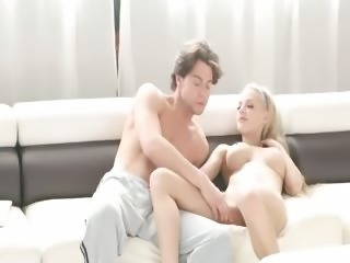 luxury blonde fucking on white sofa