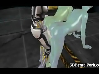 Two toon alien babes get their pussies fucked by a shemale in a space suit