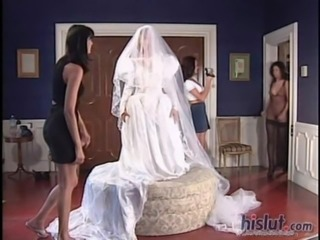 The bride is trying on her dress and getting ready free
