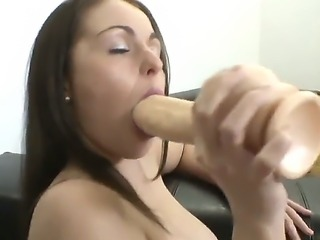 Sexy brunette babe decides to go solo as she plays with huge dildo for...