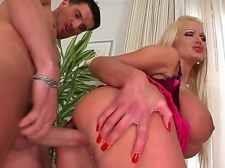 Big ass blonde babe Sharon Pink gets her pink tight muff drilled by a massive...