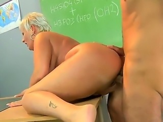 Filthy ass licking short haired blonde granny Cecily in high heels only...