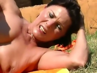 Sexy naughty couple decide to take it outside as they bang hard and passionately