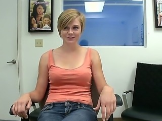 This short haired girl with large natural boobs came for audition. Her name...