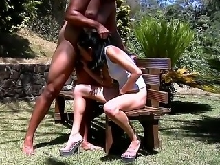 Skinny beauty Amanda Soares gets nailed and made to swallow in outdoor sex...