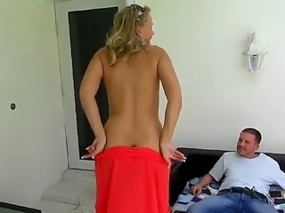 Naughty blonde milf is letting young stud fingers her shaved beaver before...