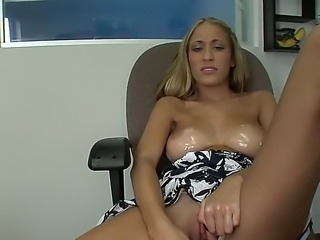 Latin seductress Laura Love is definitely not going to save too much body oil...