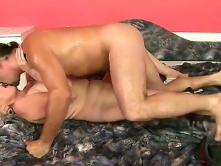 Big and strong man with nice cock is shoving it deep inside his sweet mature...