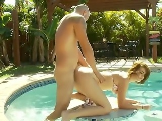 Tristan Berrimore fucked hard near the pool by Al-B in the roughest positions