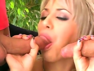 Enjoy watching extremely hot threesome pounding with naughty blondie Ashey...