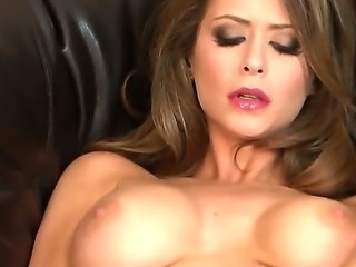 Erotic sexy slut Emily Addison on the couch spreads up her pussy to let you...