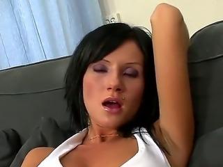 Wet tight brunette whore Dora offers her upskirt deep pussy fingering show!