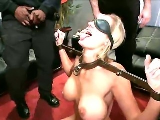 Blindfolded bitch is going to have some double dick sucking and handjob work