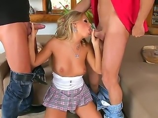Blonde sex bomb Barbie White in her first double penetration scene ever