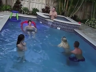 Marissa Jordan and Skarlit Knight are enjoying hot and horny pool party along...