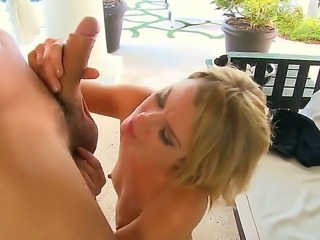 Amazing young blonde chick in awesome shoes Jessy is rubbing her wet vagina