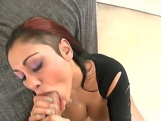 Big boobed cock sucker slut Priya Rai sucking huge cock in sexy tight black...
