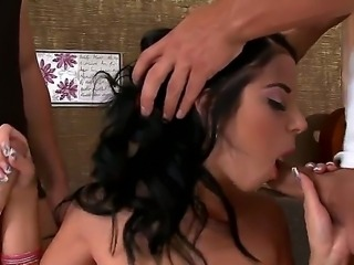 Threesome scene with a hot brunette named Jessyka Swan and her fuckers