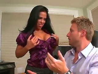 Hot babe Branda Fox is sedusing her boss Levi Cash and fucks him right in the...