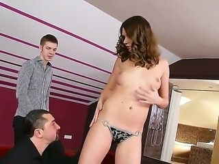 Fantastical secretary Nadia Bella seduces her boss and his young stepson