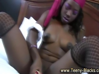 Teen black bitch uses toy in her tight pussy to get off