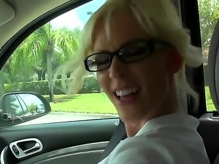 Blonde milf gets very horny after being teased by good looking younger stud