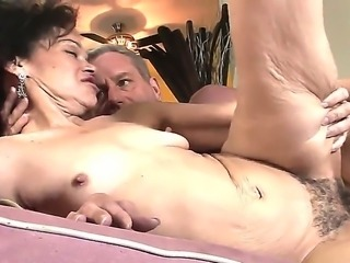 Horny granny with curly haired pussy Sage Hughes fucked by her old lover Jay...