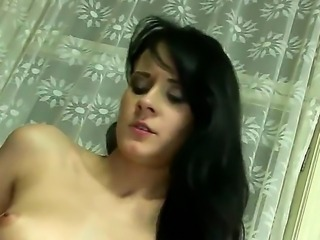 Sexy sensationall brunette abbe enjoys as her gaping cunt is penetrated hard...