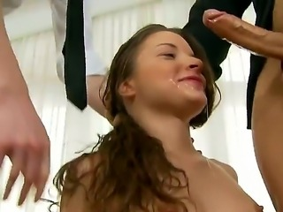 Tiny teenager Anita Bellini gets her ass fingered and pretty mouth used by...