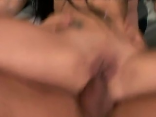 Gorgeous and passionate brunette Kerry takes two dicks in her sweet mouth