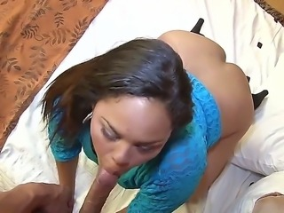Naughty sexy Lorena Lobos enjoys sucking huge cock while having her shaved...