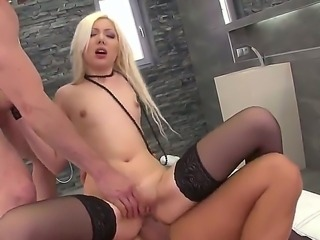Slutty blonde babe enjoys sucking cock as her tight gaping ass is drilled...