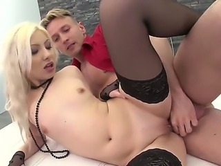 Lickerish and pretty Angel Blond got two cocks to make all dirty things she...