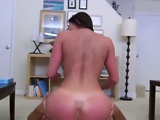 Luxurious woman with nice juggs and butt gonna stand doggy style and get...