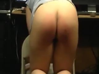 Real merciless spanking punishment for submissive slut Babara.  Red ass full...