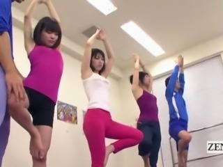 Subtitled Japanese yoga stretching class crazy erection