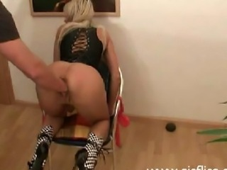 Hot blond amateur gets violently fist fucked in her hungry loose cunt till...