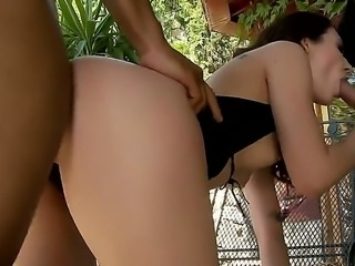Impressive threesome with Stacy Snake and two big shafts invading all of her...