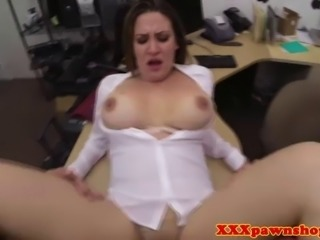 Busty reality gal fucked in backroom for some pawnshop deal