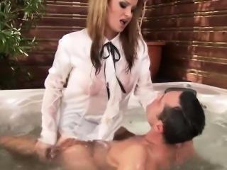 Cfnm femdom babe fucks loser in tub
