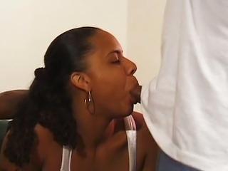 Tattooed ebony threesome both holes fuck