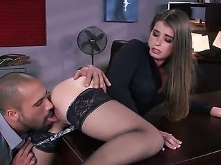 Long haired office girl Karlo Karerra in black nylon stockings pulls her...