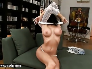Blonde Regina Moon with giant boobs cant stop masturbating
