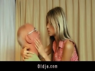 Materialist young blonde fucks grandpa for money free